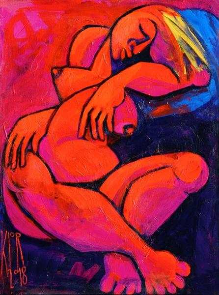 0071 Schlafender weiblicher Akt auf blauem Kissen