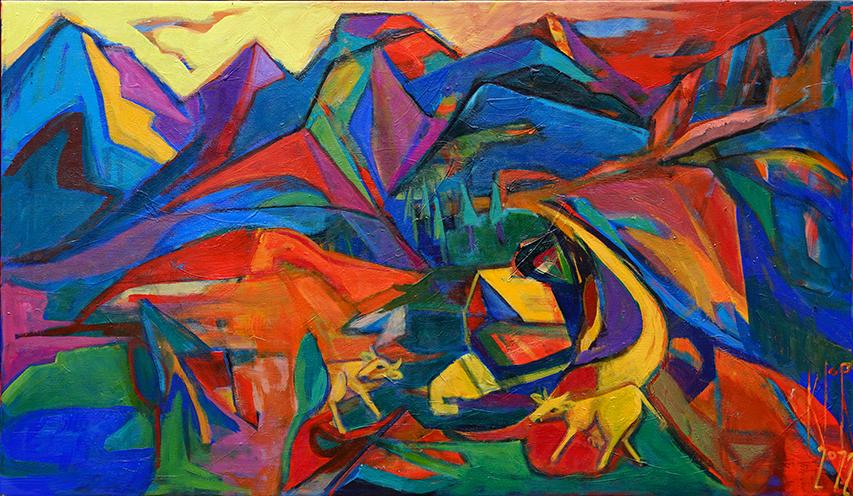 """Bild Acryl auf Leinwand, Titel """"Auf der Alm"""", expressionistisch"""