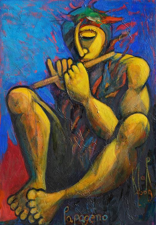 Papageno spielt auf der Flöte